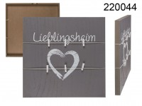 Grey coloured deco wooden board, Lieblingsheim, ...