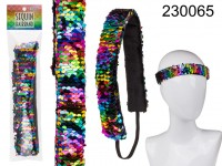 Sequin hairband, Rainbow, 100% Polyester, approx. ...