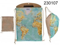Fashion bag, World map, with textile string, ca. ...