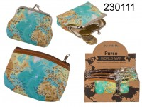 Purse, Worldmap, ca.  9  x 8 & 13 x 9 cm, 2 ass. ...