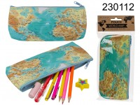 PVC-pouch, worldmap, with zipper, approx. 21 x ...