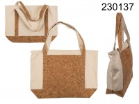 Ivory coloured shopper,with cork bottom and front ...