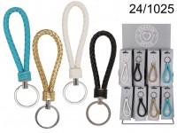 Metal key ring, Cord, ca. 10 cm, 4 ass., 72 pcs. ...