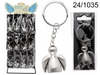 Brushed Metal Keychain, Angel, ca. 3,5 cm, 48 ...