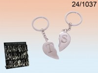 Metal Keychain, Broken Heart  with Initials A-Y ...