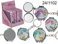 Metal keychain, Unicorn pocket mirror, D:  ca. ...