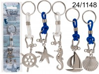 Metal keychain with cord, Maritime, ca. 14 cm, 6 ...