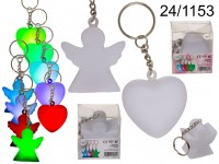 Metal key chain with colour changing LED, Heart & ...