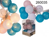 Garland with rose/white/blue cotton balls & 10 ...