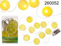 Garland, lemon slices, with 10 warm white LED, ...