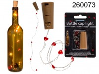 Bottle cap light with 5 red heart LED (including ...