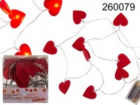 Light chain, felt hearts, with 10 warm white LED, ...