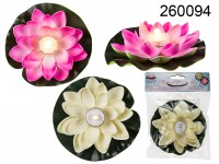 Floating water lily with warm white LED, ...