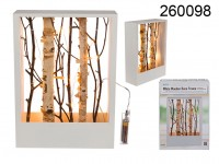 White coloured wooden deco frame with branches & ...