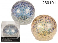 Glitter glass ball with warm white  LED, ca. 12 ...
