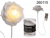 White plastic rose with 5 warm white LED, approx. ...