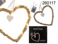 Rattan heart with white ribbon,  20 warm white ...
