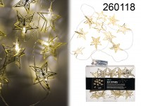 Golden coloured metal light chain, 3D stars, with ...