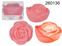 Pink coloured plastic rose with warm white LED, ...
