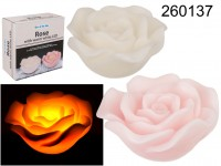 Rose with warm white LED  ca., 19 x 9,5 cm, wax, ...