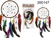 Multicoloured fabric Dreamcatcher, with feather & ...