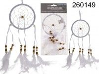 White coloured fabric Dreamcatcher, with feather, ...
