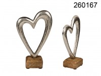 Metal heart on wooden base, ca. 17 cm, 1440/PAL