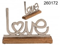 Metal lettering with wooden base, Love, ca. 25 x ...