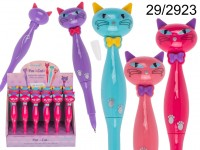 Pen, Cat, ca. 16 cm, plastic, 4 colours ass., 24 ...