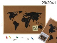 Pinboard, World Map, ca. 40 x 60 cm, 336/PAL