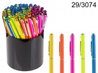 Neon coloured metall pen with Swarovski stone, ...