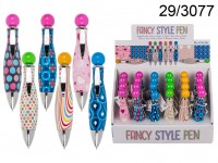 Pen, Fancy Style, ca. 11 cm, plastic, 6 ass., 24 ...