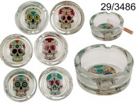Glass ashtray, Coloured Skull, ca. 8 x 4 cm, 6 ...
