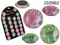 Glass magnet, € Notes, ca. 3,5 cm, 2 ass., 36 ...