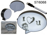 Illuminated plastic speech bubble with pen for ...