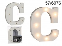 Illuminated wooden letter C, with 7 LED, ca. 16 ...