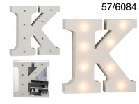 Illuminated wooden letter K, with 8 LED, ca. 16 ...