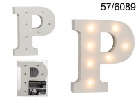 Illuminated wooden letter P, with 7 LED, ca. 16 ...
