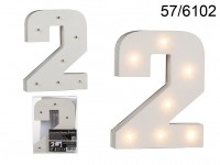Illuminated wooden number 2, with 7 LED, ca. 16 ...
