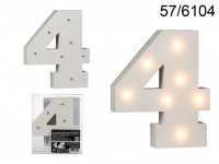 Illuminated wooden number 4, with 7 LED, ca. 16 ...