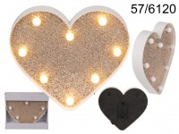 Illuminated heart, Golden Glitter, with 8 LED, ...