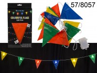 Light chain, colorful flags, with 8 LED, ca. 18 ...