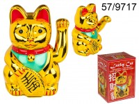 Waving cat, ca. 20 cm, plastic, for 2 mignon ...