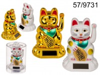 Waving cat, with solar cell, ca. 8 cm, plastic, 2 ...