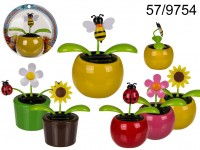Movable flowers & insects in plastic pot with ...
