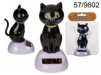 Moveable figurine, cat, on plastic base with ...