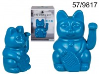 Blue waving cat, ca. 20 cm, plastic, for 2 mignon ...