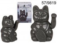 Grey waving cat, ca. 20 cm, plastic, for 2 mignon ...
