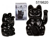 Black waving cat, ca. 20 cm, plastic, for 2 ...