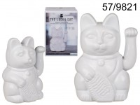 White waving cat, ca. 20 cm, plastic, for 2 ...